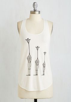 Until Necks Time Top - Cream, Print with Animals, Print, Casual, Critters, Sleeveless, Summer, Knit, Good, Scoop, Mid-length, Black, Safari