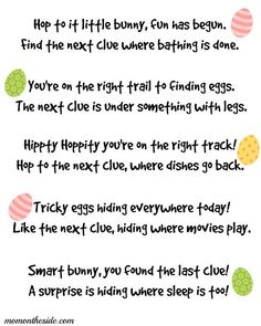 Easter Scavenger Hunt Clues for Kids and Teens Easter Scavenger Hunt Clues {Printables}Easter Scavenger Hunt Clues {Printables} Easter Riddles, Easter Games, Easter Activities, Easter Puzzles, Sleepover Activities, Fun Activities, Hoppy Easter, Easter Eggs, Easter Food