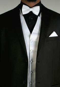 black tux with silver vest and tie - Google Search Vest And Tie, Black Tux, Tuxedo, Blazer, Jackets, Men, Accessories, Google Search