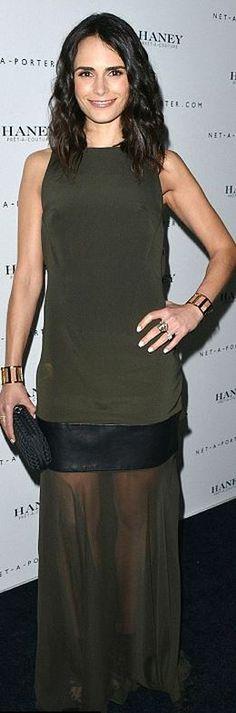 Who made Jordana Brewsters green mesh maxi dress, jewelry, and black woven handbag? Dress – Haney  Purse – Bottega Veneta