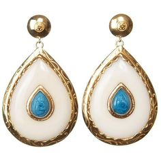 Preowned Cdg Style Gold Drop Earrings Carved Turquoise Nut Ivory Made... (92.480 RUB) ❤ liked on Polyvore featuring jewelry, earrings, drop earrings, white, gold heart earrings, turquoise teardrop earrings, teardrop earrings, gold drop earrings and gold tear drop earrings