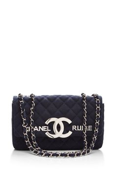 Chanel Navy Cc Cruise Flap Bag by What Goes Around Comes Around for Preorder on Moda Operandi