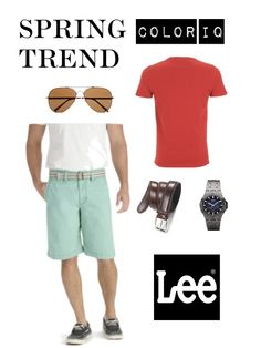 Color IQ: Spearmint + Red, featuring Lee Bermuda Shorts. #leelooks