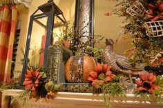 My fall mantel with a warm glow                                                                                                                                                                                 More