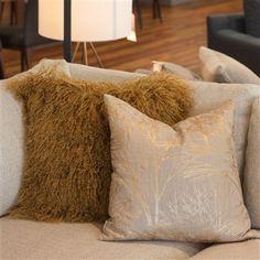 Pillow Decor throw pillow and sofa cushion collection includes the Mongolian Sheepskin Soft Gold Throw Pillow