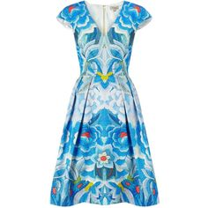 Temperley London Arazzi Structured Dress (740 CAD) ❤ liked on Polyvore featuring dresses, blue mix, blue dress, blue a line dress, v neck dress, a line dress and antique dress