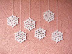 Crochet los copos de nieve decoraciones caseras por SkyBlueFancy