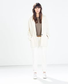 The whole outfit- OVERSIZED STRUCTURED THREE-QUARTER LENGTH COAT , grey shirt, white pants- from Zara