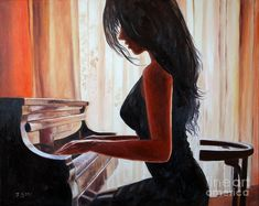 Image result for oil painting girl playing piano #playpiano #OilPaintingGirl