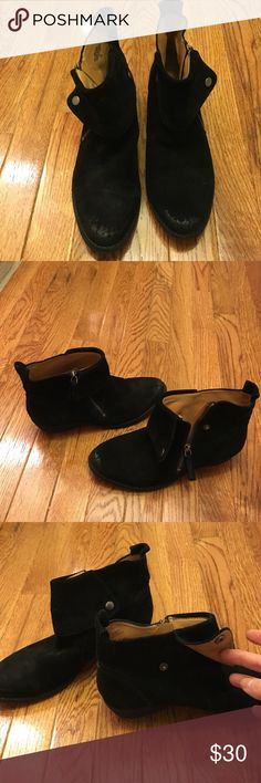 """Nine West Bleaker black suede ankle boots Leather suede boot with a burnished toe for a downtown edgy look. Inside zipper with snap cuff. Approx 1-1/2"""" stacked heel. Nine West Shoes Ankle Boots & Booties"""