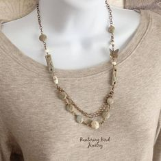 Tan and Pale Blue Jasper Necklace Natural Stone with White