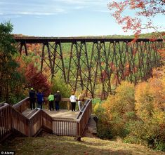 The historic Kinzua Viaduct in Pennsylvania, originally built from iron, was the highest and longest in the world at the time of construction, measuring 301 feet high and 2,053 feet long.  It was rebuilt using steel in 1900 and stood firm for more than a century before being mostly destroyed by a tornado in 2003. Childhood memories, so sad that it's not the same.