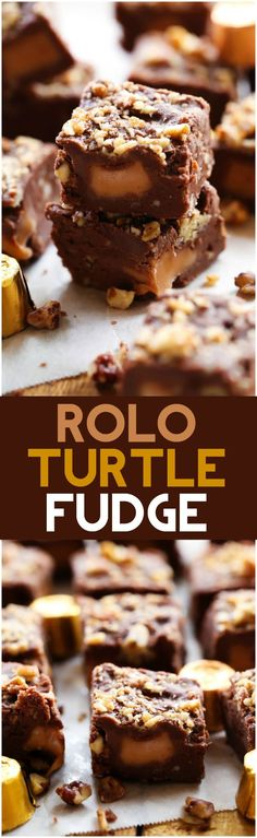 A delicious fudge featuring a creamy smooth chocolate fudge base, crunchy pecans stirred in and yummy ROLOS with gooey caramel filled centers in each and every piece. Mini Desserts, Chocolate Desserts, Just Desserts, Delicious Desserts, Chocolate Fudge, Yummy Food, Chocolate Tarts, Delicious Chocolate, Caramel Fudge