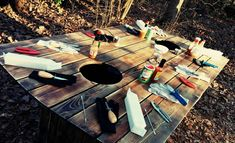 The big table for big shuckers! Backyard Projects, Backyard Patio, Crawfish Season, Shucking Oysters, Raw Bars, Seafood Boil, Fried Fish, Diy Furniture, House Warming