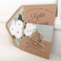 Kraft Wedding Invitation Set Kraft lined by papertreemedia on Etsy