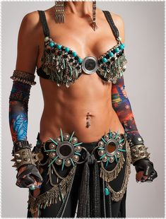 Tribal Fusion Belt Tribal Belly Dance Belt Spiked Belt Belly Dance Belt Tribal Fusion Clothing Gothic Clothing Steampunk Clothing - VOIR TE