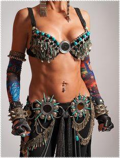 Tribal Fusion Belt Tribal Belly Dance Belt Spiked Belt Belly Dance Belt Tribal Fusion Clothing Gothic Clothing Steampunk Clothing - VOIR TE