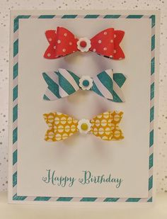 Lovely bow Birthday card, something a little bit different #CandyStripe #CardMaking