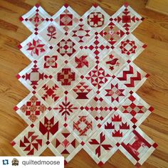 """Is it any surprise this is my favorite #modasamplershuffle Great job Deb! #Repost @quiltedmoose with @repostapp. ・・・ Now to decide on fabric for setting…"""