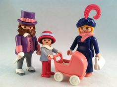 Playmobil - Victorian Family - vintage early 1990's - set complete except for plume in mother's hat has been replaced - #5507.