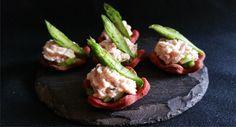 Ham mousse & Asparagus Beetroot Tartlets