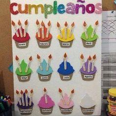 You see: Corners and Decoration 2 - - Geburtstagskalender - taktak decor Kids Crafts, Diy And Crafts, Paper Crafts, Classroom Displays, Classroom Decor, Preschool Classroom, Preschool Activities, Decoration Creche, Birthday Bulletin Boards