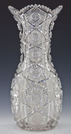 Monumental American Brilliant Cut Glass Vase - 3