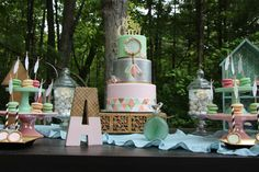 Gorgeous desserts at a boho chic baby shower party! See more party planning ideas at CatchMyParty.com!