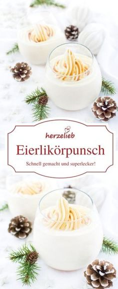 Hausgemachter Eierlikörpunsch – Rezept Drinks Recipes: Delicious recipe for eggnog punch with many good ingredients. This drink tastes great at Christmas, New Year's Eve at a party or just like that! Eggnog recipe from herzelieb Eggnog Punch Recipe, Gourmet Recipes, Healthy Recipes, Homemade Eggnog, Yummy Food, Tasty, Liqueur, Punch Recipes, Drink Recipes
