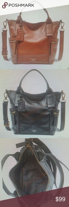 FOSSIL EMERSON MEDIUM LEATHER SATCHEL I have 1 brown and 1 black. These are adjustable crossbody bags and have lots of pockets! New this season. Currently at Macy's for $198.00. Fossil Bags Satchels