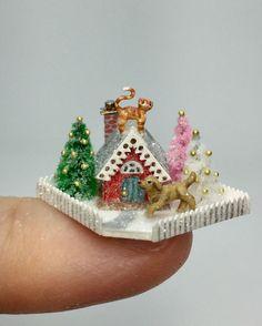 OOAK Miniature Dollhouse Christmas Dog Cat Putz Cottage House Holly Allen Micro  | eBay