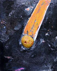 Zen Tainaka, Meteor, acrylic, clay on wooden panel, 91×72.7cm, 2016