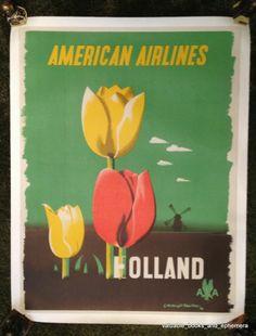 Original Travel Poster / 1948 American Airlines Holland / Kauffer Tulip Vintage
