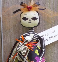 primitive folk art doll Day of the Dead