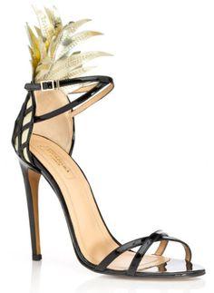 Aquazzura Gold and Black Pina Colada Sandal on Moda Operandi (DIY: add feathers to a scrappy stiletto) Gold Strappy Sandals, Ankle Wrap Sandals, Strap Sandals, Black Sandals, Black Shoes, Shoes Sandals, Ankle Strap, Gold Shoes, Heeled Sandals