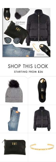 """""""Winter Look"""" by mimicdesign ❤ liked on Polyvore featuring Woolrich, Puma, Citizens of Humanity, Topshop, Prada, black and pufferjacket"""