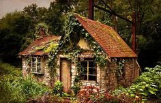Cottages Houses:  A small stone cottage draped with vines.