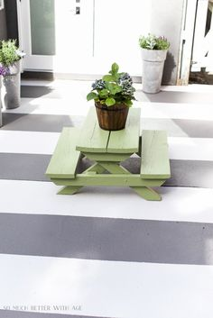 How to Paint Stripes Like an Outdoor Rug on Patio Concrete Slab | So Much Better With Age