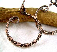 Monili di rame filo di rame orecchini di KiawahCollection su Etsy