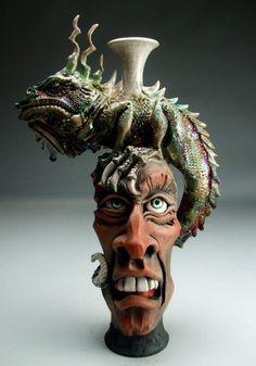 Glass Bottle Crafts, Bottle Art, Ceramic Pottery, Pottery Art, Macabre Art, Pottery Designs, Gourd Art, Fantastic Art, Ceramic Artists