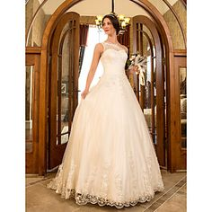 A-line Princess One Shoulder Sweep/Brush Train Tulle And Lace Wedding Dress (632801) – USD $ 179.99