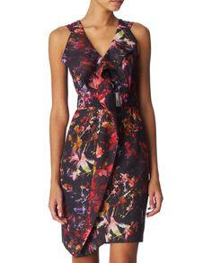 KAREN MILLEN Black Red Multi Floral Paint Splash Print Belted Ruffle Dress UK6 Ruffle Dress, Ruffles, Paint Splash, Karen Millen, Clothing Ideas, Women's Clothing, Online Price, Printer, Dresser