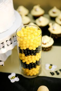 Yellow and black candy