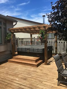 Custom pergola over hot tub