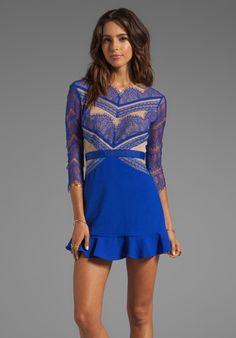 THREE FLOOR Shades of Blue Long Sleeve Dress in Cobalt Blue/Nude