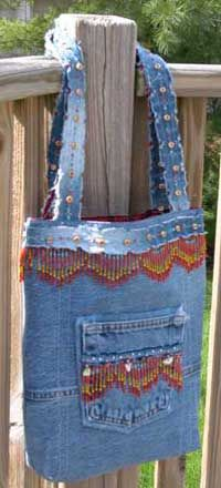 New Again Jeans Tote Pattern $8.00  love the beads am going to have to remember these for the next bag I make :)