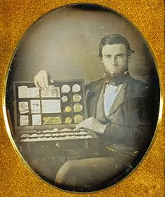 Portrait of a Jewelry Salesman (Getty Museum) Robert H. Vance  American, 1853 - 1854  Hand-colored daguerreotype