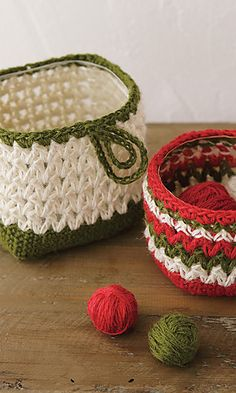 crocheted baskets ~ Free pattern