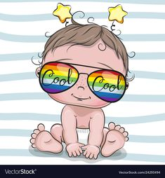 Cool Cartoon Baby with sun glasses. Cool Cartoon Cute Baby with sun glasses vector illustration Clipart Baby, Cute Clipart, Cartoon Drawings, Cartoon Art, Cute Drawings, Cute Cartoon Girl, Baby Cartoon, Cute Kids, Cute Babies