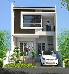 37 Minimalist Home Design Ideas With Two Floor . There are many reasons for choosing to live in a multi-story home. You may have bought it for the extra space, the efficient design or for the appeal . House Front Design, Bungalow House Design, Small House Design, My House Plans, Small House Plans, Modern House Plans, Minimalis House Design, Home Modern, Facade House